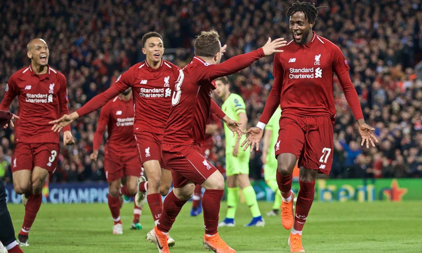 Divock Origi celebrates a goal against Barcelona at Anfield