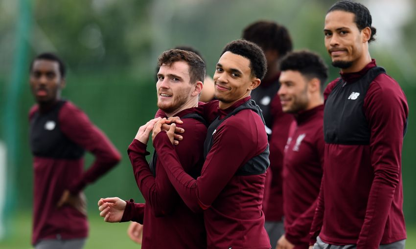 Andy Robertson and Trent Alexander-Arnold in training