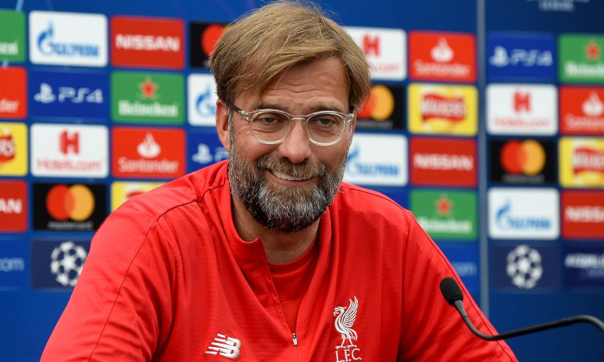 Liverpool manager Jürgen Klopp at a Champions League press conference