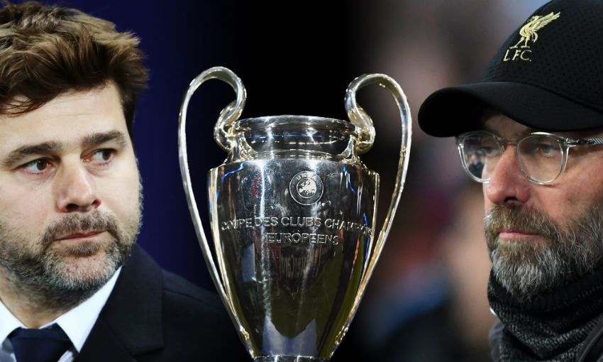 Jürgen Klopp and Mauricio Pochettino with Champions League trophy