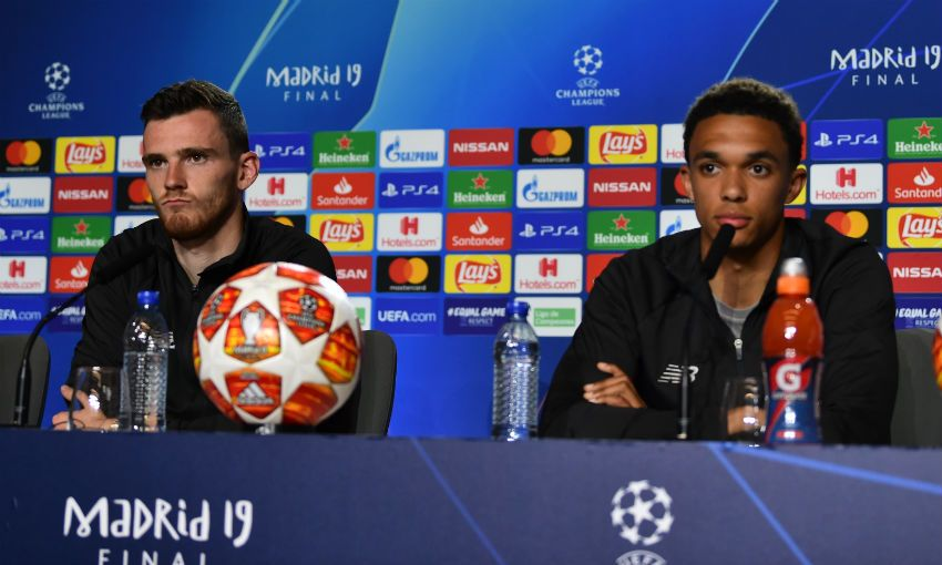 Andy Robertson and Trent Alexander-Arnold appear at press conference ahead of Champions League final