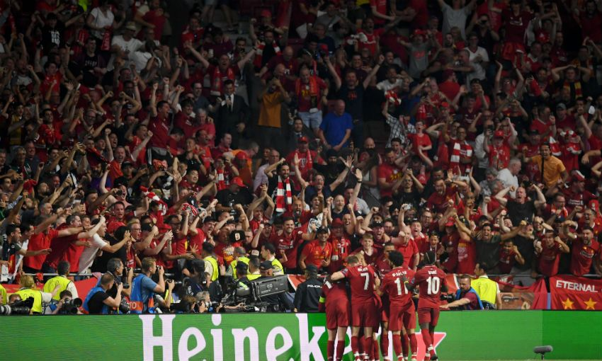 Liverpool celebrate Origi goal in Madrid