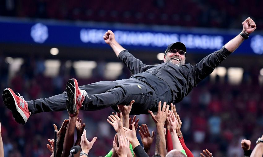 Jürgen Klopp celebrates after winning the Champions League