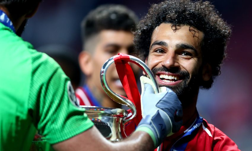 Mohamed Salah celebrates winning the Champions League