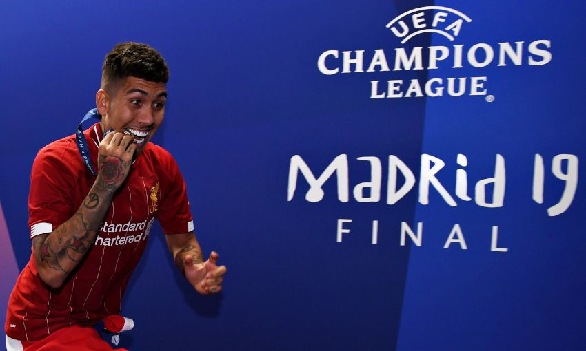 Liverpool players celebrate at Champions League final