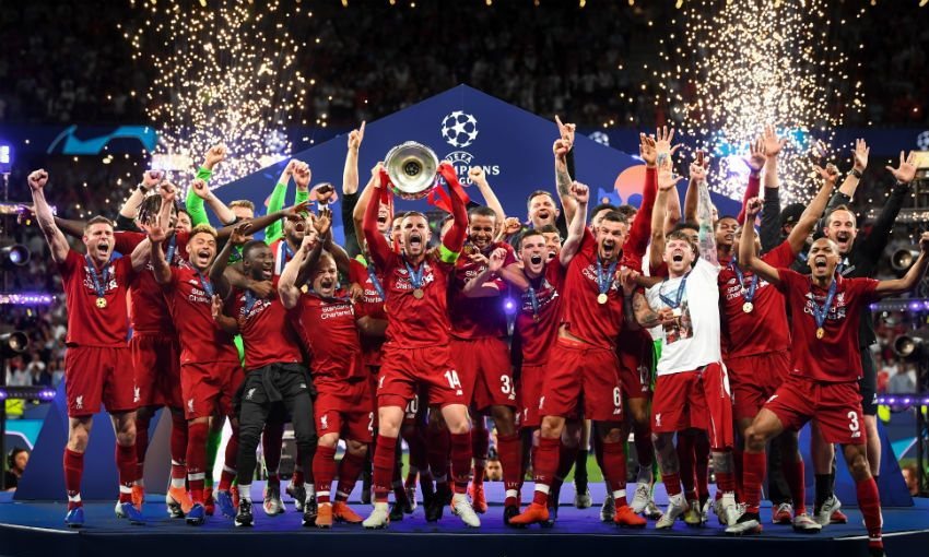 Liverpool's Champions League trophy lift