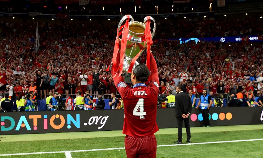 Virgil van Dijk lifts the European Cup