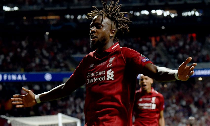 Divock Origi celebrates his goal in 2019 Champions League final