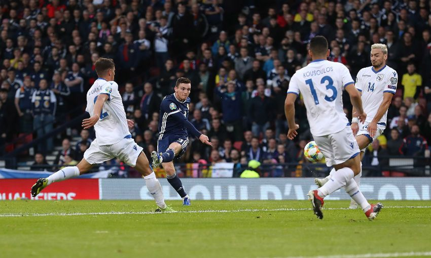 Andy Robertson scores for Scotland v Cyprus