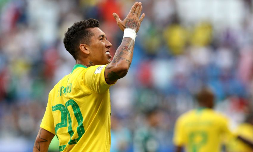 Roberto Firmino celebrates goal for Brazil