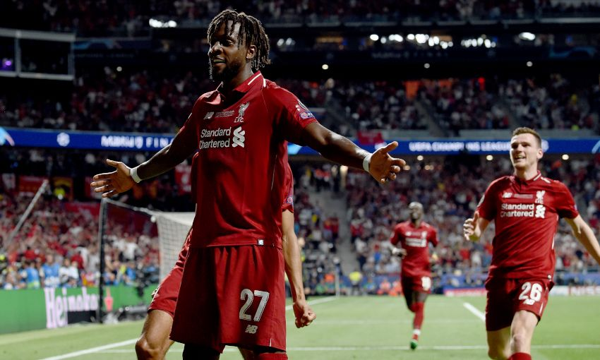 Divock Origi celebrates scoring in the Champions League final
