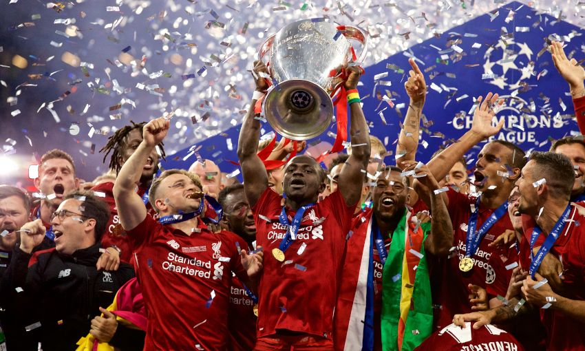 Sadio Mane lifts the European Cup for Liverpool