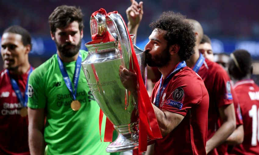 Mohamed Salah of Liverpool FC with Champions League trophy