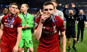 Andy Robertson of Liverpool FC celebrates winning 2019 Champions League