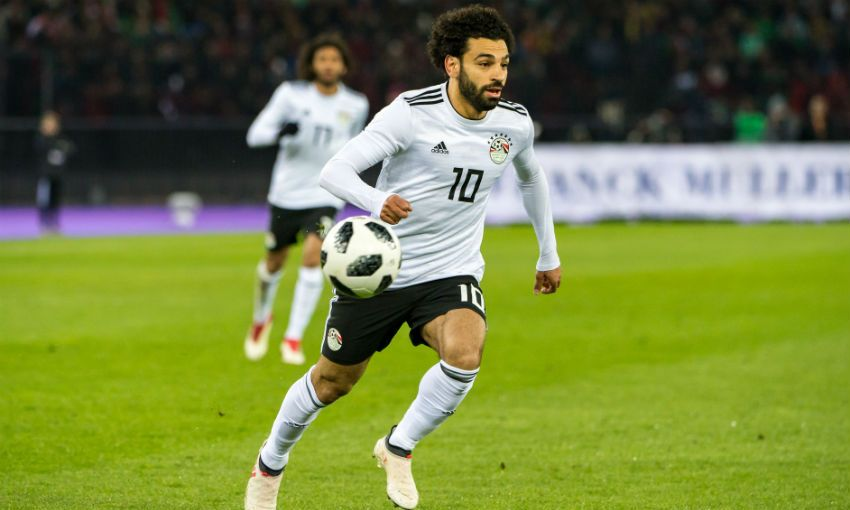 Mohamed Salah playing for Egypt