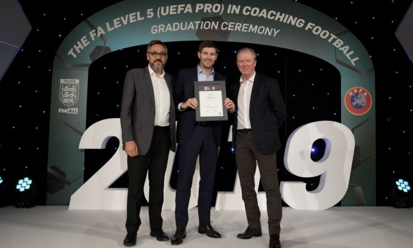 Steven Gerrard graduates from FA's UEFA Pro coaching course