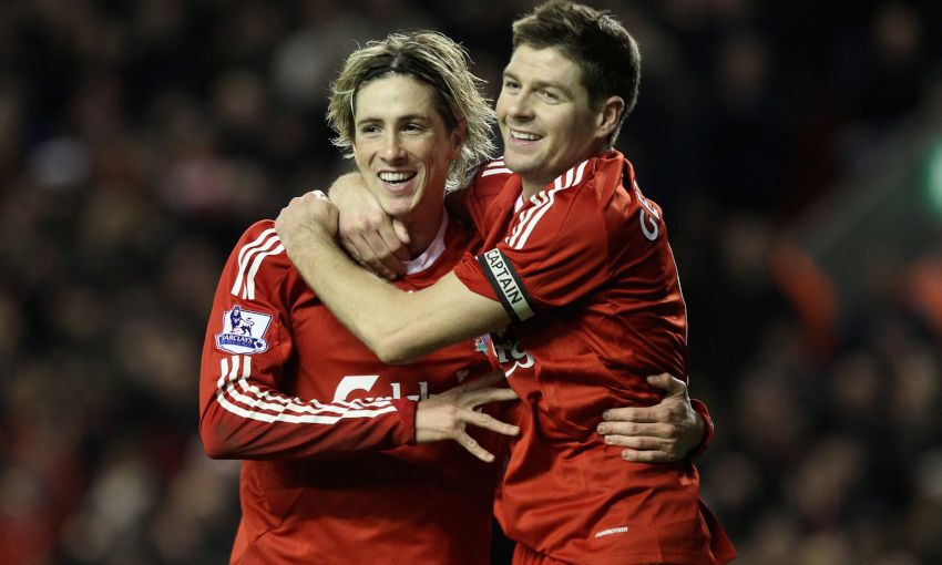Fernando Torres and Steven Gerrard celebrate for Liverpool