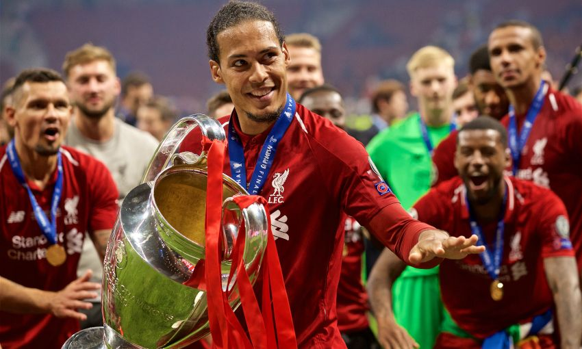 Virgil van Dijk celebrates with the European Cup