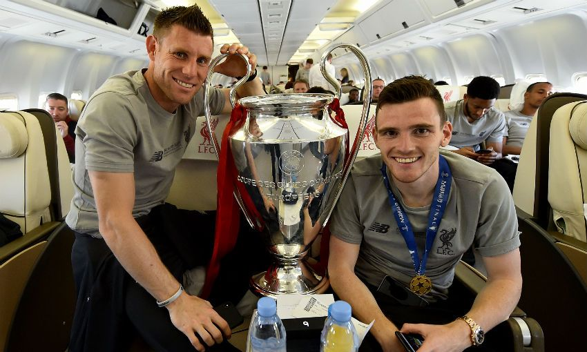 James Milner and Andy Robertson with Champions League trophy
