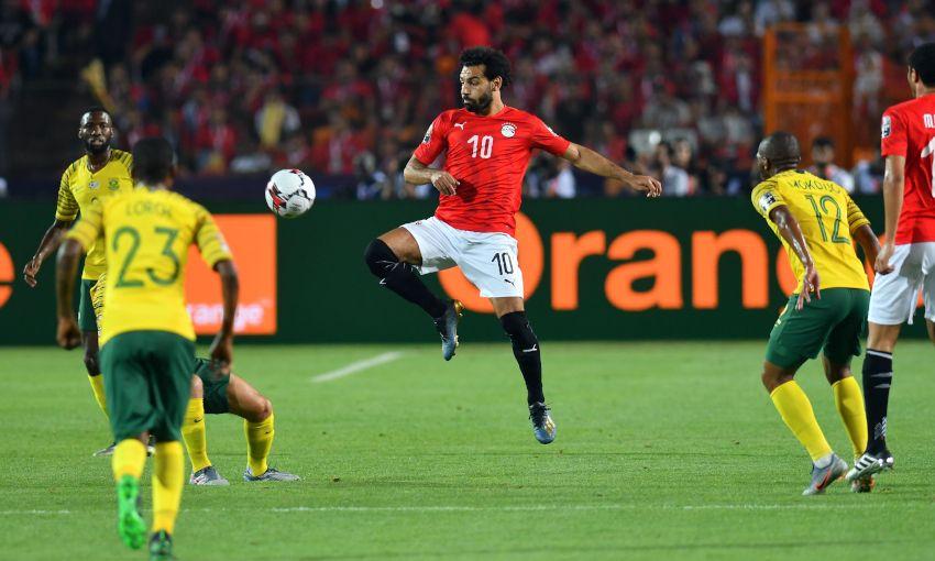 Mohamed Salah in action for Egypt against South Africa