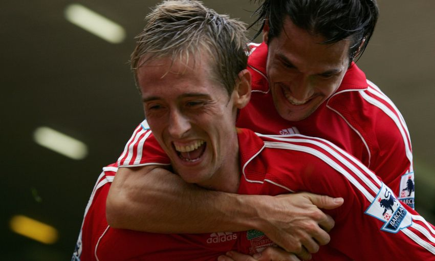 Peter Crouch celebrates a Liverpool goal