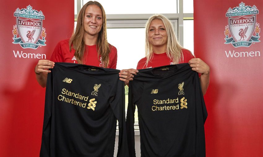 Anke Preuss and Fran Kitching of Liverpool FC Women