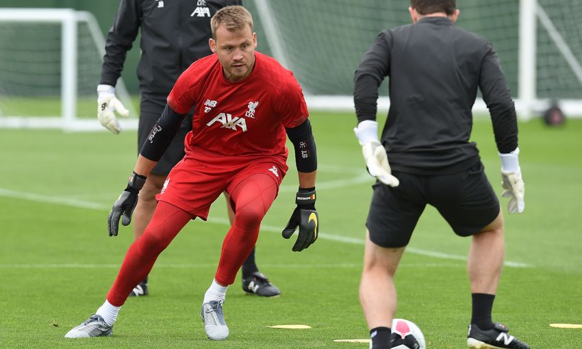 Liverpool goalkeeper Simon Mignolet in training at Melwood