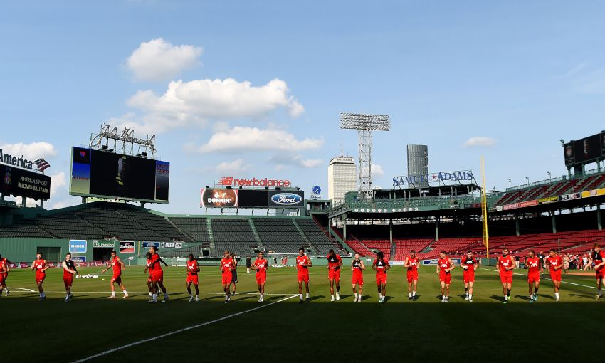 Liverpool FC training session at Fenway Park