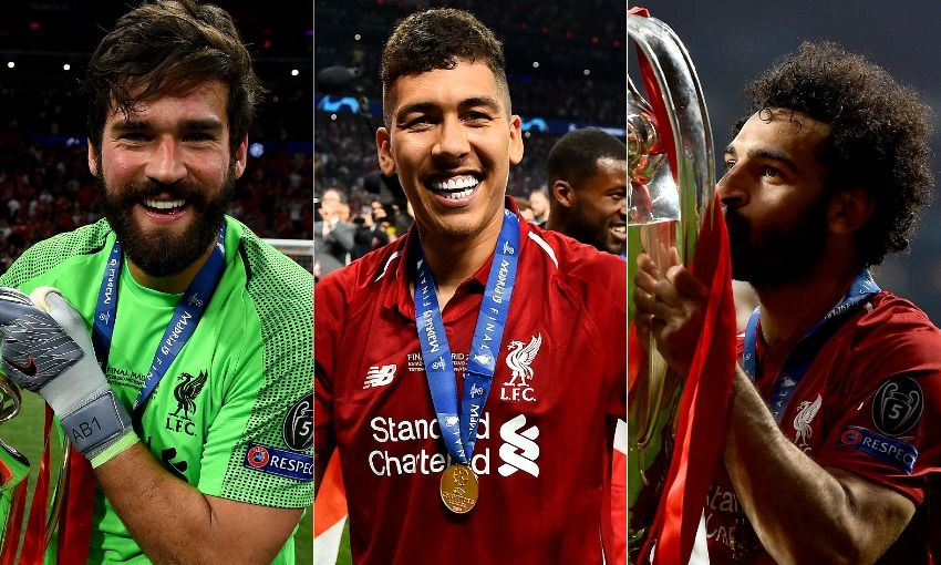 Alisson Becker, Roberto Firmino and Mohamed Salah of Liverpool FC