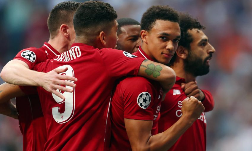Liverpool celebrate a Mohamed Salah goal