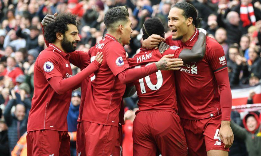 Mohamed Salah, Virgil van Dijk, Sadio Mane Liverpool goal celebration