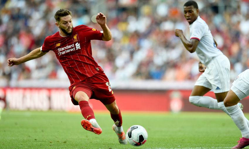 Adam Lallana in action for Liverpool against Lyon