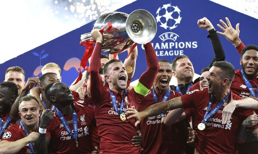 Jordan Henderson lifts the European Cup in Madrid