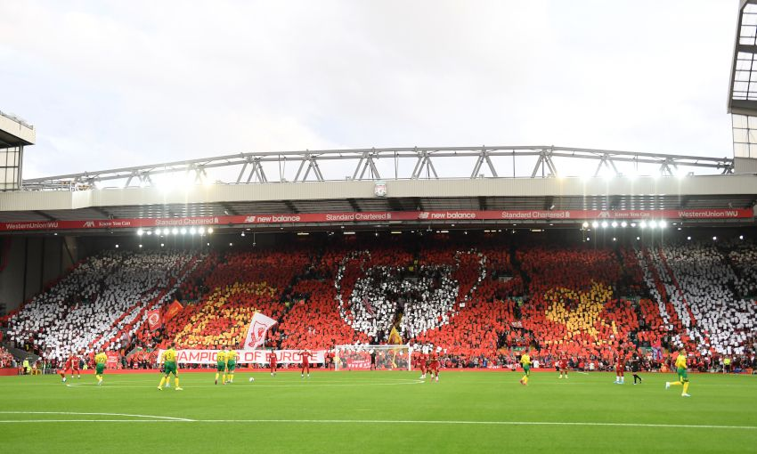 The Kop forms a European Cup mosaic at Liverpool v Norwich City