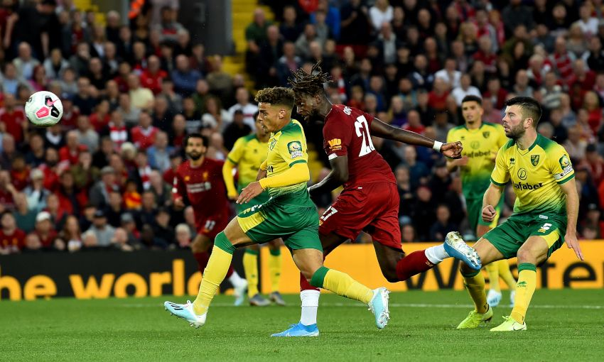 Divock Origi scores against Norwich City at Anfield