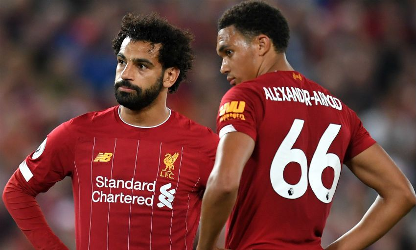 Mohamed Salah and Trent Alexander-Arnold of Liverpool FC