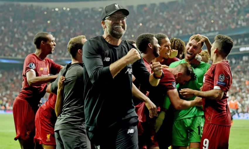 Jürgen Klopp celebrates UEFA Super Cup