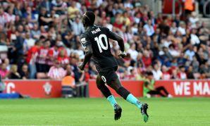 Sadio Mane celebrates scoring against Southampton