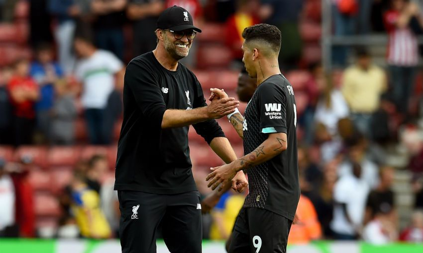 Jurgen Klopp and Roberto Firmino at Southampton