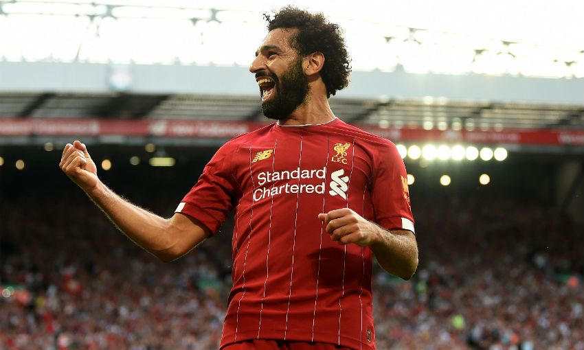 Mohamed Salah celebrates goal in Liverpool v Arsenal