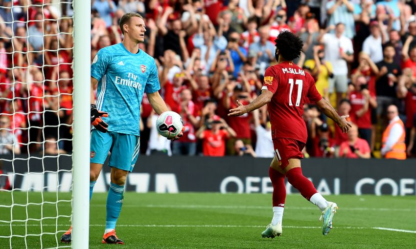 Mohamed Salah celebrates scoring against Arsenal
