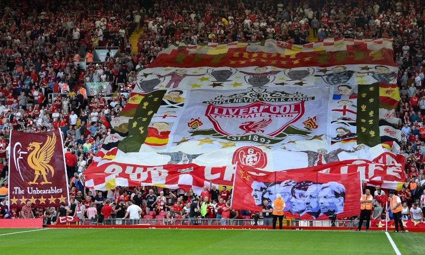 Flags displayed at Anfield