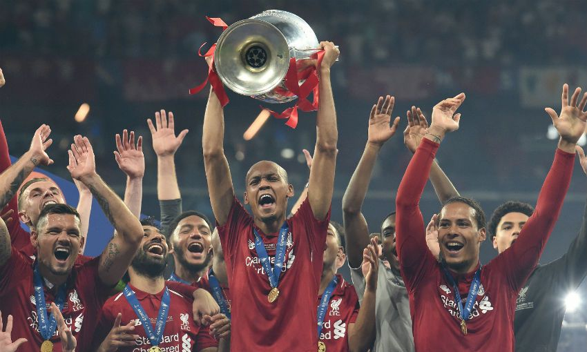 Fabinho with Champions League trophy