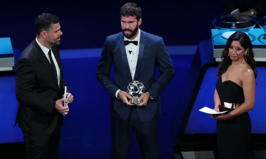 Alisson Becker collects Champions League award