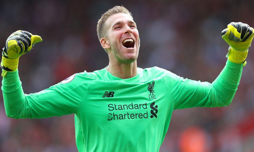 Adrian celebrates for Liverpool
