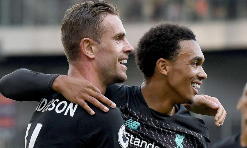 Jordan Henderson and Trent Alexander-Arnold celebrate against Burnley