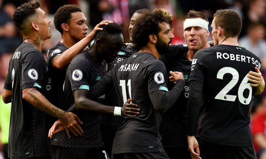 Liverpool FC celebrate Sadio Mane's goal v Southampton