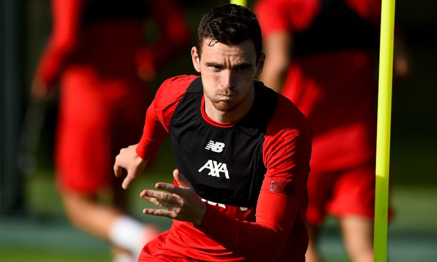 Andy Robertson in training at Melwood