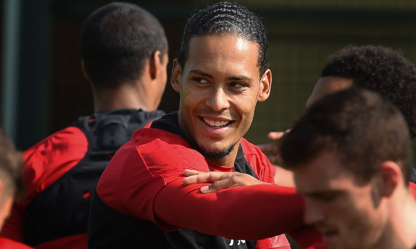 Virgil van Dijk in Liverpool training