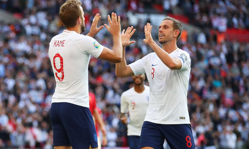 Jordan Henderson celebrates an England goal